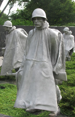 Soldier at the Korean War Memorial in Washington, DC